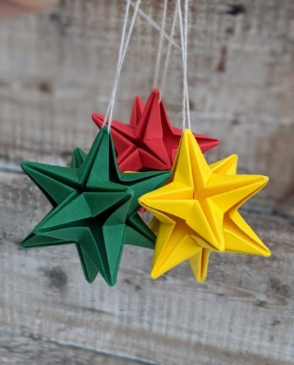recycled paper green red and yellow stars
