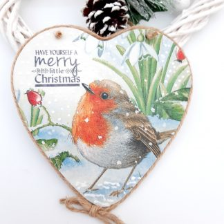 christmas robin wooden heart