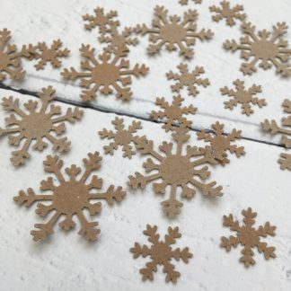 Crofts Crafts table confetti brown kraft snowflakes