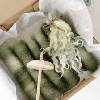 spinning starter kit with green wool and drop spindle