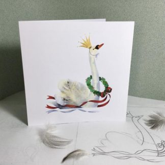 Swan with crown and wreath Christmas card