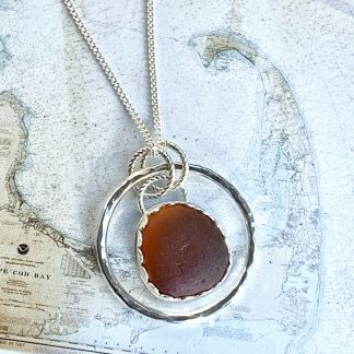Contemporary Honey Brown Sea Glass and Sterling Silver Pendant Necklace
