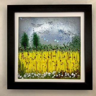 Fused glass Cornfield in summer box frame