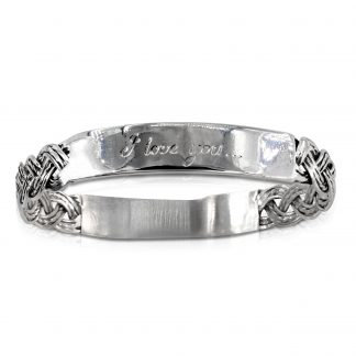 Sterling Silver Woven Hand Engraved Bangle I love you to the moon and back