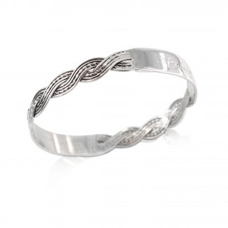 Sterling silver woven hand engraved bangle I love you for being you