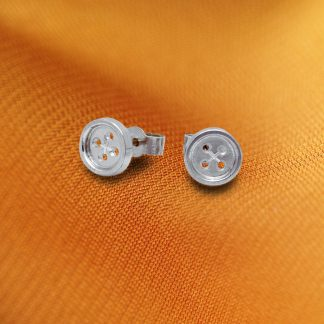 Sterling silver button ear studs