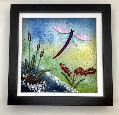 Fused Glass Dragonfly and bullrushes box frame