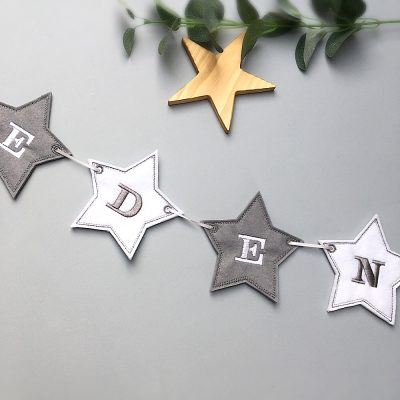 Personalised grey & white banner