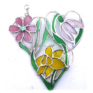 flower heart daffodll snowdrop daisy stained glass suncatcher