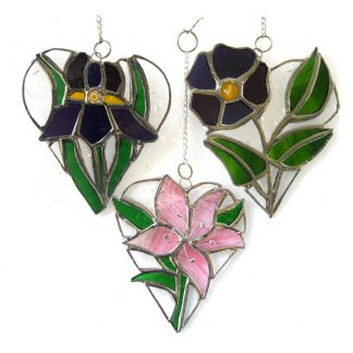 flower heart pansy iris lily stained glass suncatcher