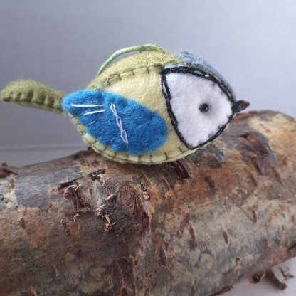 Handmade felt Great tit wing detail bird