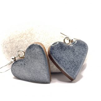 wooden heart drop silver blue earrings