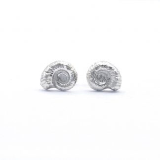 fine silver ammonite stud earrings