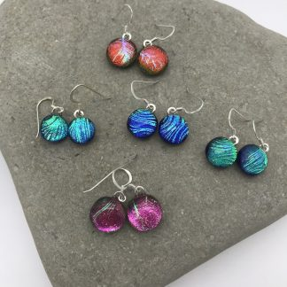 Colourful feather pattern dichroic glass dangly earrings
