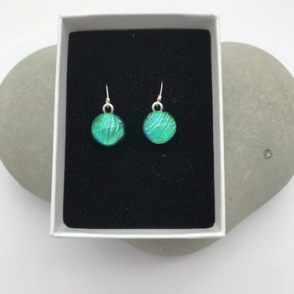 Green feather pattern dichroic glass dangly earrings