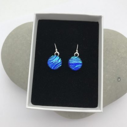 Blue with green feather pattern dichroic glass dangly earrings