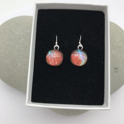 Red with green feather pattern dichroic glass dangly earrings