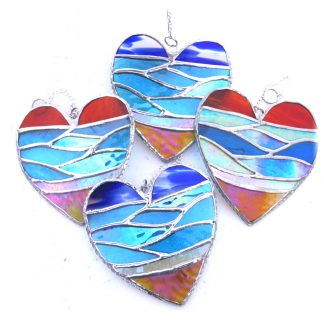 sea heart stained glass suncatcher
