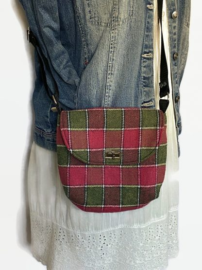 Pink and green wool cross body bag