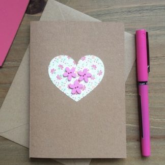 tjdesignsuk valentine or mother's day pink paper heart and hand sewn buttons