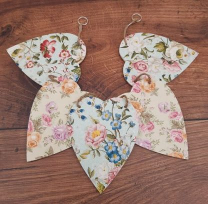 Wooden Bunting Shabby Chic Hearts
