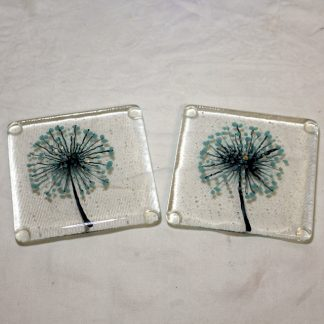Seedhead fused glass coasters