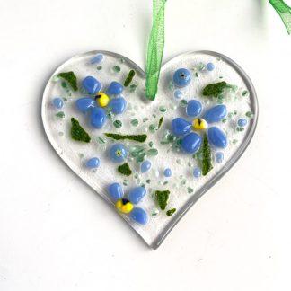 Forget me not fused glass heart