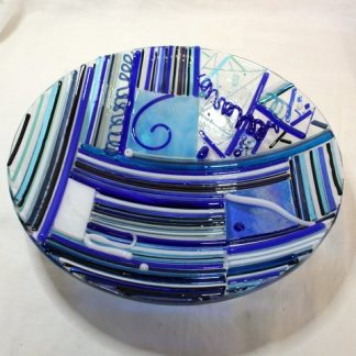 Blue zany fused glass bowl