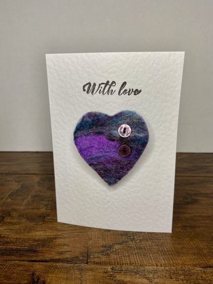 Valentine's Day Felt Purple Heart / 'With love' Greetings Card