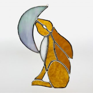 Hare and Moon Stained Glass Suncatcher