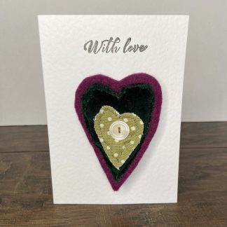 Valentine's Day Textile Heart Brooch and 'With Love' Greetings Card