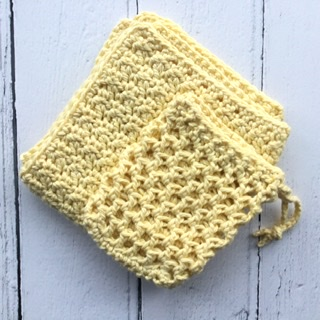Crochet washcloth and soap sack set