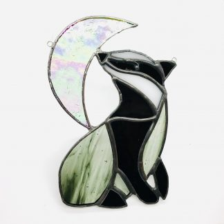 Badger and Moon Stained Glass Suncatcher