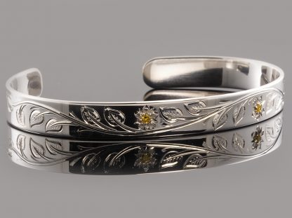 Sterling Silver Handmade 8mm Cuff Bracelet with Hand Engraved Flower and Leaf Design