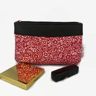 Red ditsy flower cosmetics bag