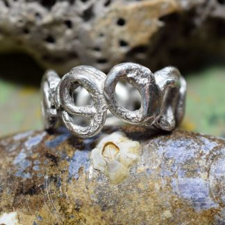 silver spiral rustic ring