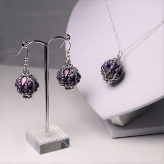 Beaded Earrings and Pendant in Purple and Silver