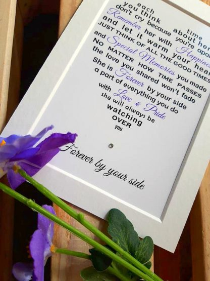 Bereavement gift - loss of wife mother - Black & Lilac