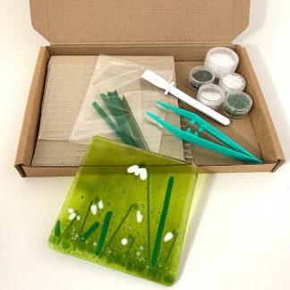 Make at home fused glass coaster kit snowdrops