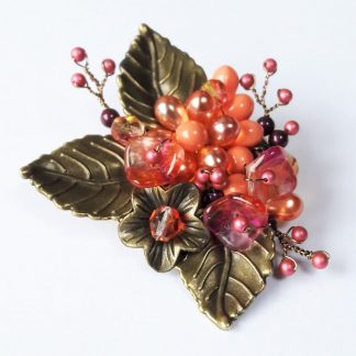 Coral Pink Beaded Flower and Leaf Brooch Pin