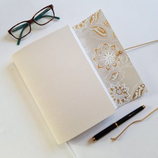 Cream Leather Flower Journal, A5, Mallory Journals