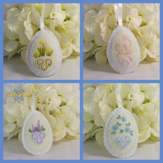 Embroidered flowers hanging decoration MollyG Designs
