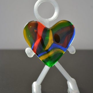 Fused glass heart - blue, green, red, yellow