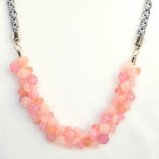 Grey and Pink Beaded Kumihimo Necklace