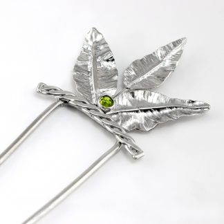 Sterling Silver Hair Fork with Leaves and Peridot