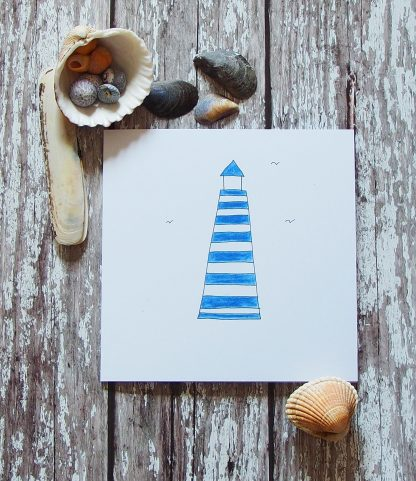 hand-drawn and coloured lighthouse card
