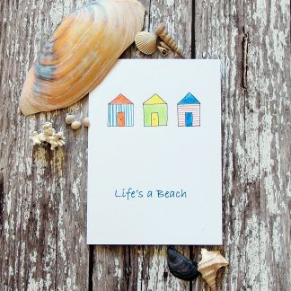 hand drawn beach huts card