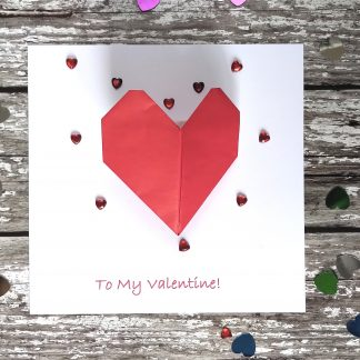 3d origami heart valentine card