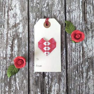 Origami heart gift tag
