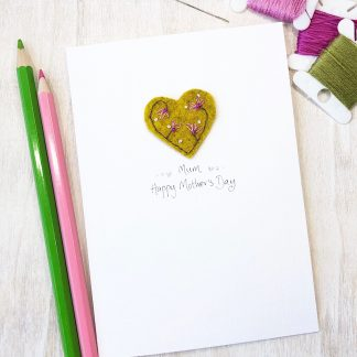 Handmade floral heart Mother's Day card